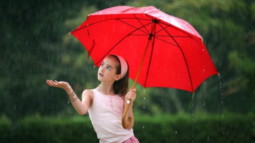 Little girls with umbrella